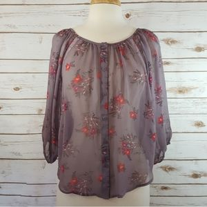 LC Lauren Conrad   Sheer Floral Lace Top Purple